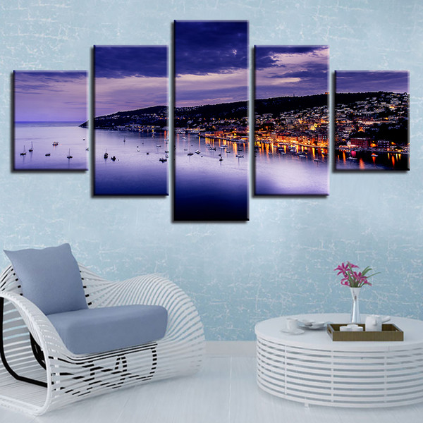 Decor Home Living Room Print Picture 5 Pieces House And Mountain Sea Night View Painting Canvas Modular Poster Wall Art HD Framework
