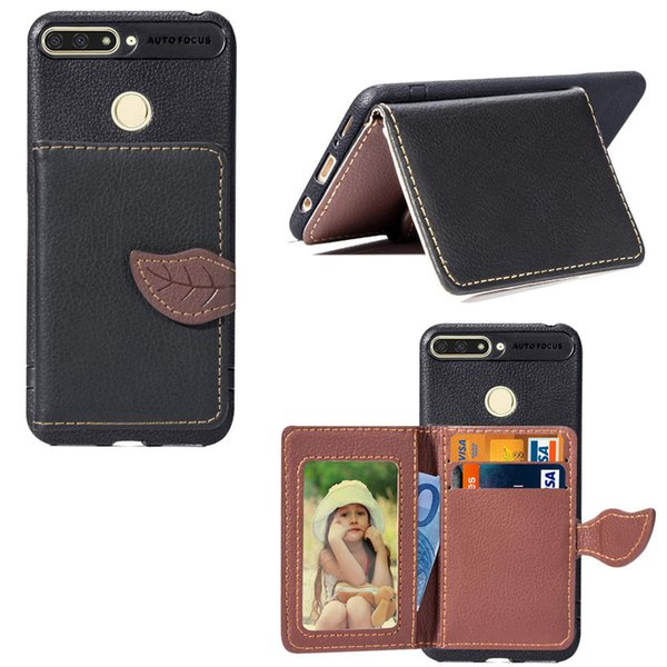 For Huawei Y6 2018 Wallet Case Cover PU Leather Light Weight Phone Stand Leaf Clip Design with Card Slot Money Pocket 97 Models for Option