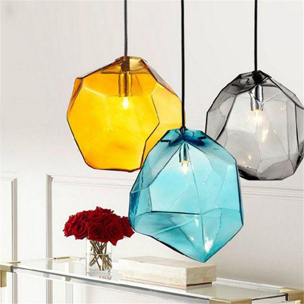 Lampade a sospensione in cristallo colorato in vetro 1/3 teste G9 Base Lampade a sospensione color ghiaccio creativo per la decorazione della casa Lampada a sospensione - L38