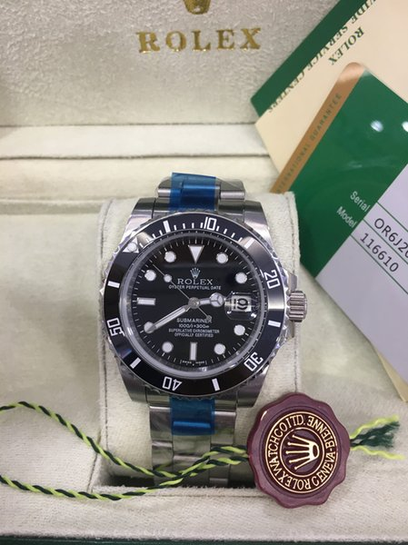 Original box wri twatche ceramic bezel apphire gla 40mm 116610ln 116610 black dial a ia 2813 automatic mechanical men watch watche