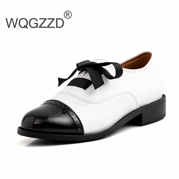 Zapatos mujer new spring oxford shoes women's casual shoes genuine leather Retro British style Bullock femme