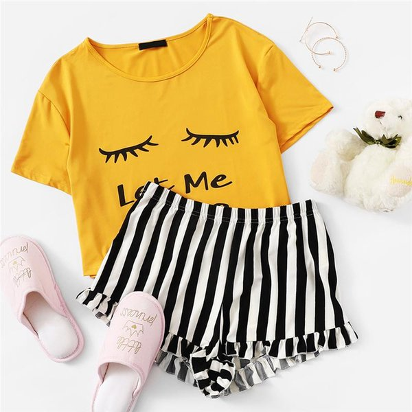 Ginger Graphic Tee And Frilled Striped Shorts Pajamas For Women Round Neck Short Sleeve 2019 Summer Pajama Sets NightWear