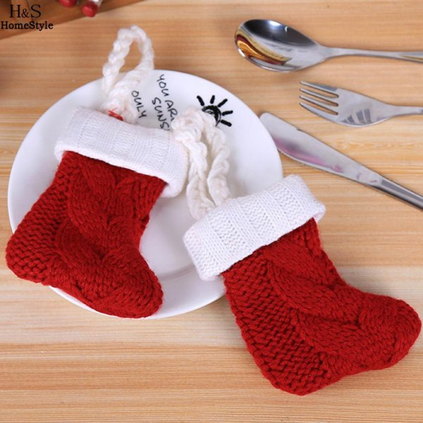Sock Decorations Patchwork Knife Cover Room Solid Bag Hotel Table Home Red Christmas Dining Fork