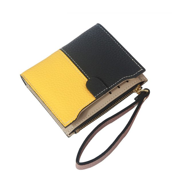 Color Block Short Wallet Women Fashion Top Quality Small Wallet Leather Purse Female Brand Mini Women Coin Card Purse New