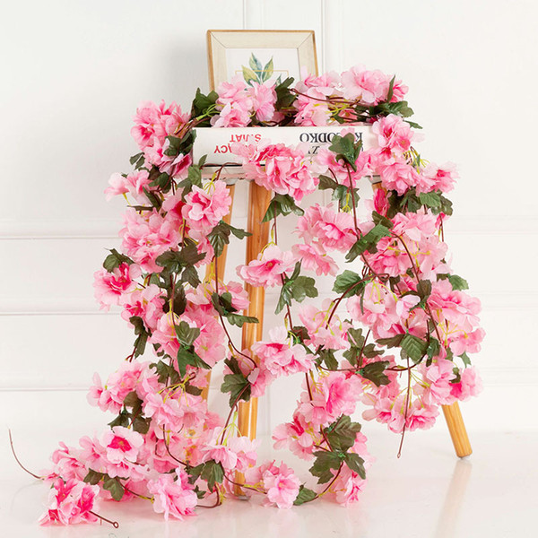230cm Artificial Cherry Blossoms Flower Vines Silk Arch party supplies Garland Fake Cherry Flower Rattan Wedding home Decor