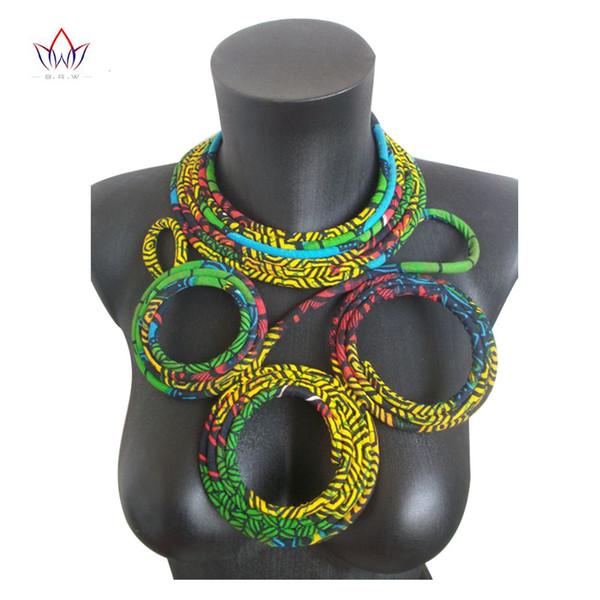 2019 Venta caliente Collares de cuerda hechos a mano africanos Ankara para mujer Collar de estampado de cera Java estilo africano WYB117