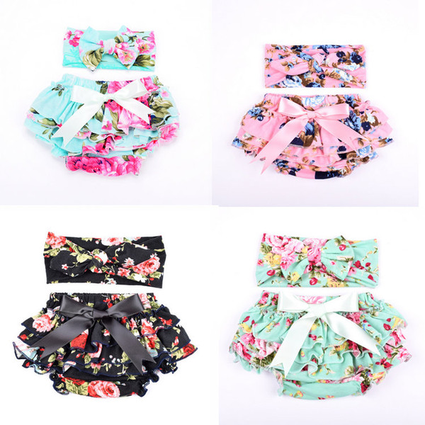 11 colors baby floral printed bloomers with headband toddler infant briefs bloomer pp pants underwear girls panties kids boutique clothing thumbnail