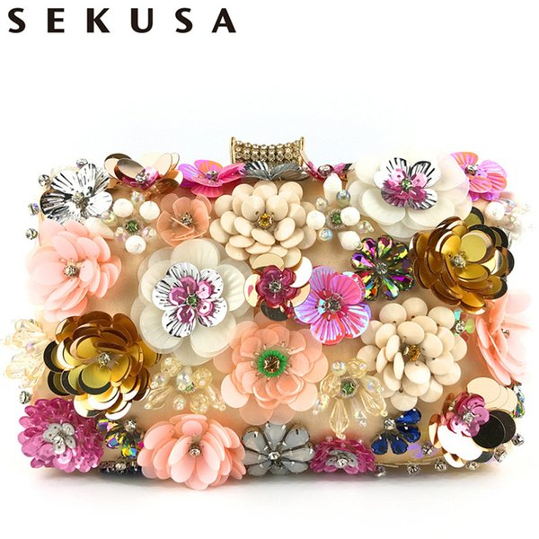 Sekusa Flower Bohemian Handmade Style Women Evening Bags Crystal Party Wedding Bridal Lady Day Clutches Purse Embroidery Purse Q190429