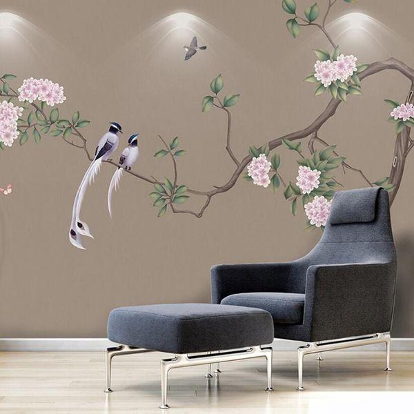 Papel de parede personalizado fundo TV parede Pássaros Flor pintura Chinesa papel papel de parede sala de estar sofá quarto parede de vídeo sem costura revestimento de parede