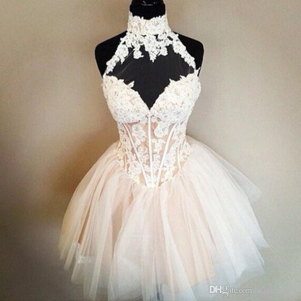 Ball Gown White Nude Short Homecoming Dresses High Neck Appliques Tulle Puffy Keyhole Back Prom Dresses Cocktail Party Gowns