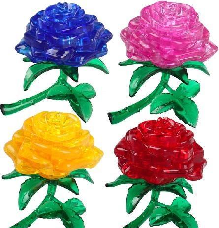 top popular Rose 3D Crystal Jigsaw Puzzle 44Pcs 2021