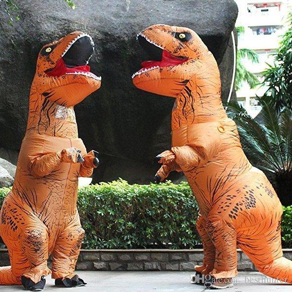 mascota del dinosaurio de Halloween y Navidad adulto Camiseta de vestuario REX Mundo Jurásico Parque Explosión dinosaurio inflable del traje del partido del traje de juguete