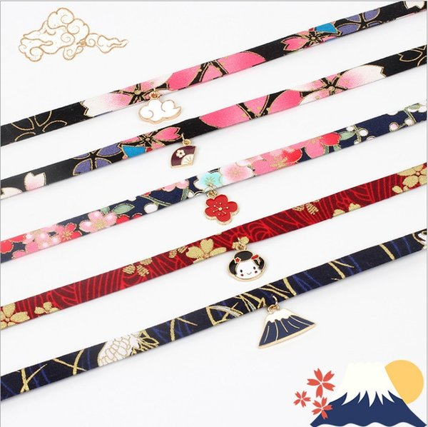 fashion vision trendy chockers necklaces Ribbon with gold plated pendant necklace chocker jewelry model no. NE939-1