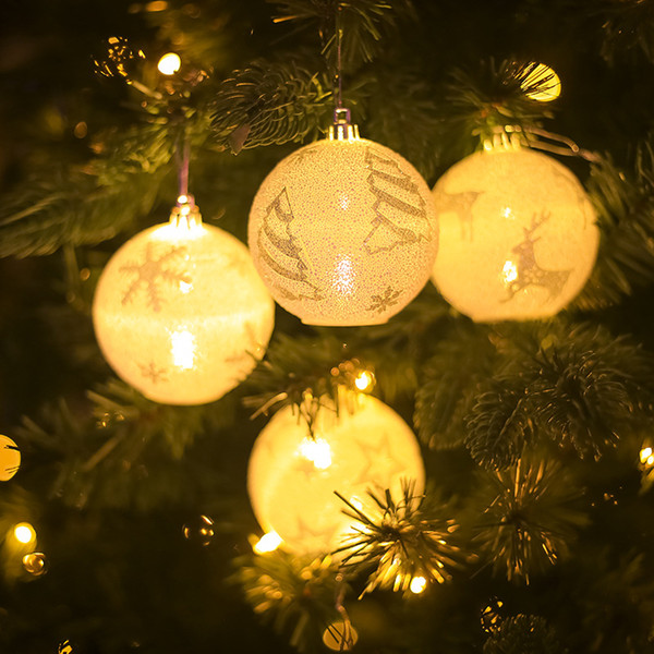 white print snow star elk christmas tree ball led warm lights christmas decoration for home xmas ornaments enfeites de natal e