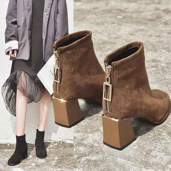 Низкие каблуки пинетки обувь шпильках сапоги Роскошная Узелок круглого Toe добыч Дамы Высокий каблук Середина теленок Мода Chunky Mid-Ca