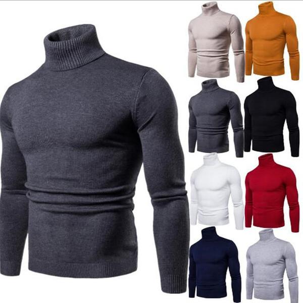 efashiona / Qualidade Mens Camisolas de Inverno Outono Gola Alta Camisas de Pulôveres Preto Para O Homem de Algodão Camisola de Malha Blusas Masculinas Puxar H
