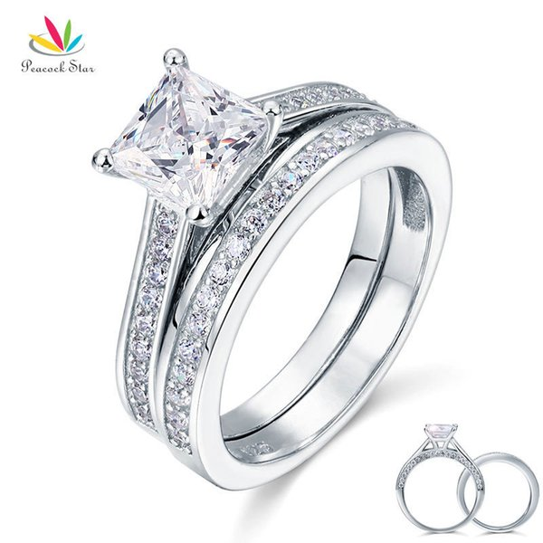 Peacock Star 1.5 Ct Princess Cut Solid 925 Sterling Silver 2-pcs Wedding Promise Engagement Ring Set Cfr8009s J190625
