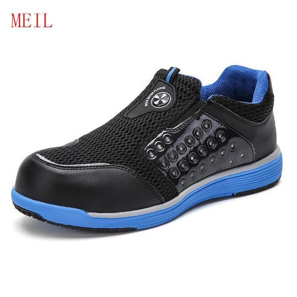 Sommer Atmungsaktive Stahlkappe Schuhe Arbeit Sicherheitsschuhe für Männer Mode Piercing Baustelle Weiche Sicherheitsstiefel Turnschuhe