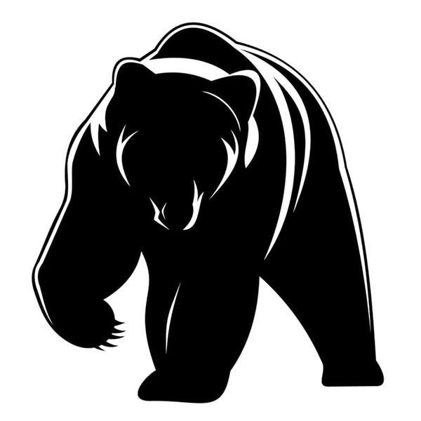 15*15CM Cute Grizzly Bear Decal Vinyl Car Sticker Black/Silver CA-1074