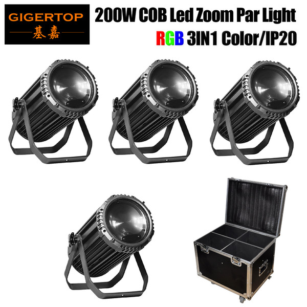 4IN1 Flightcase Pack 200W RGB 3IN1 Zoom Led Par Light Lanterne a LED per interni Par Stage Lighting Alloggiamento in alluminio Long Cannon Shape Controllo DMX