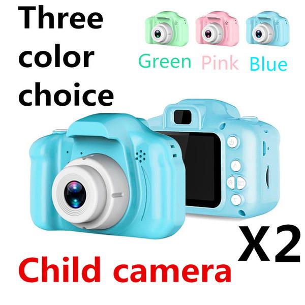 X2 son çocuk kamera Mini Dijital Kamera 2 inç Karikatür Sevimli Kamera Oyuncak Çocuk Doğum Günü Hediyesi 1080 P DH Toddler DHL ücretsiz kargo
