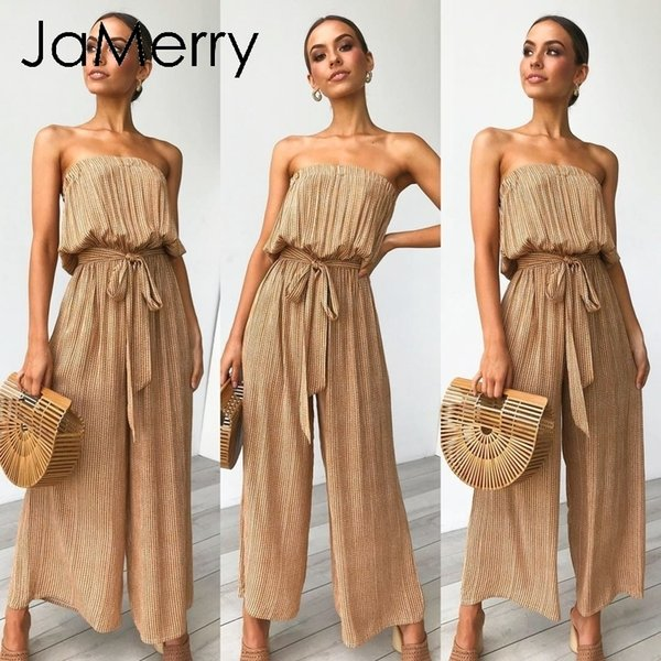 Jamerry Sexy Off Shoulder Long Jumpsuit Romper Women Sashes Jumpsuit Playsuit Rompers Summer Solid Leopard Print Overalls 2019 MX190726