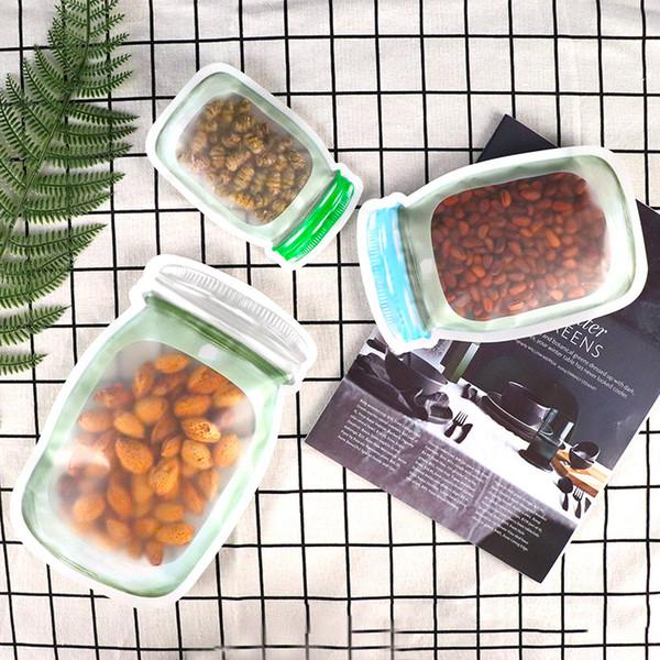 500pcs reutilizable de almacenamiento de alimentos bolsa de Mason Jar Forma Snacks cierre hermético del ahorrador del alimento a prueba de fugas Bolsas de cocina del organizador del bolso 3 Tamaños DBC BH2643