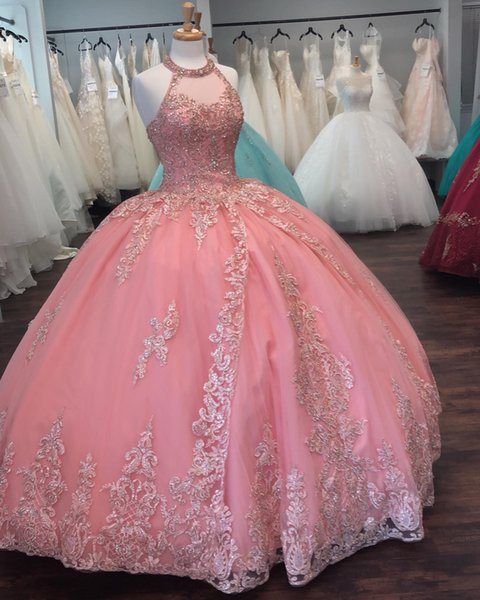 Pink Lace Beaded Vintage Quinceanera Prom Dresses Sheer Neck Halter Ball Gown Tulle Evening Party Sweet 16 Dress ZJ308