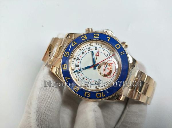 Herren Armbanduhr Gold 44mm Blau Keramik Lünette Weißes Zifferblatt STAHL Luxus Hochwertige Automatische Herrenuhr