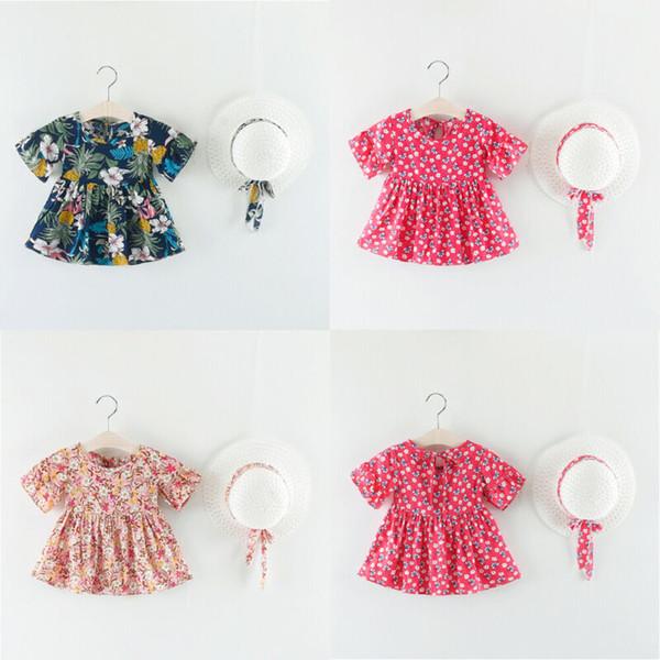 Fiesta de Flores süße Kinder bebé manga corta Mädchen Kleid desfile Vestidos + Hut sunsuit