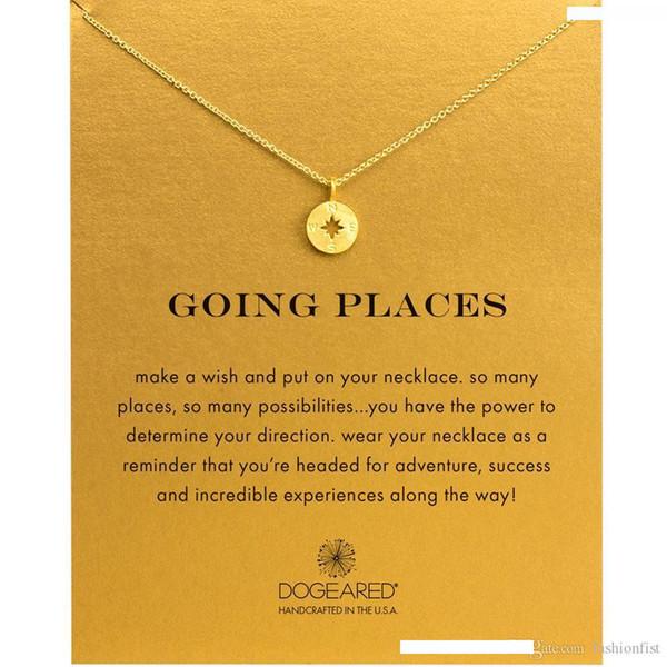 Mode Dogeared Halskette Kompass-Anhänger, MIT KARTE Goldfarbe edel und delikat Chokerhalskette, keine verblassen Halskette Schmuck