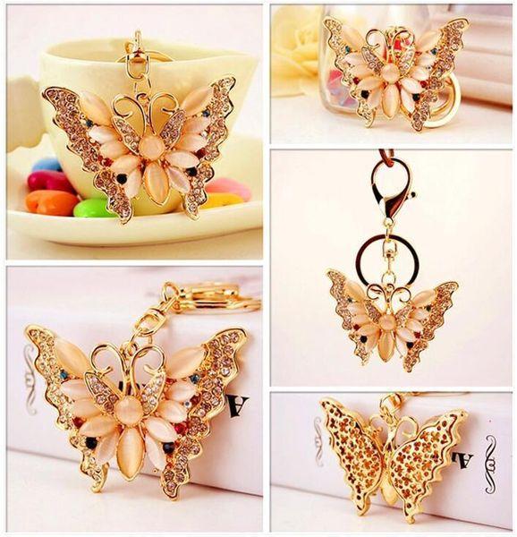 Rhinestone Opal Butterfly Jewelry Keychain - Women Luxury Keychains Bag Pendant Key Holder Chain Ring Lady Party Gift