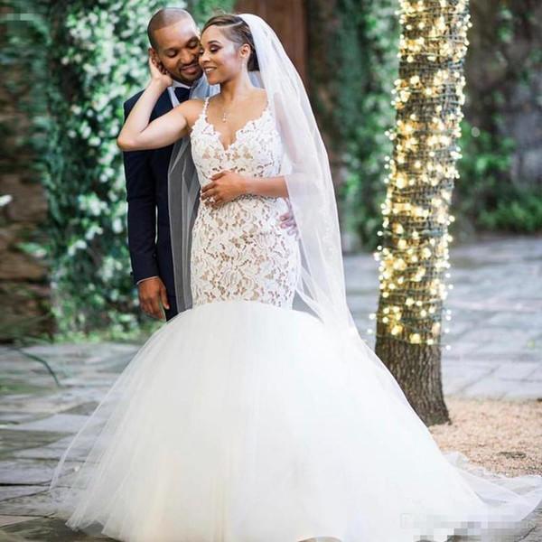 Sirena moderna Tallas grandes Vestidos de novia 2019 Cordón blanco con gradas Parte inferior Barrido Tren Árabe País Vestidos de novia vestido de novia Velo gratis