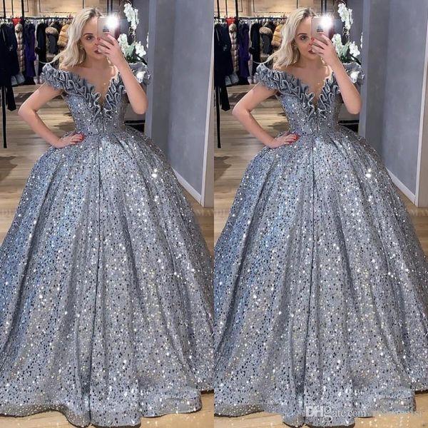 2020 Glitter Sequin robe de bal Prom DressesArabic de l'épaule Ruffles Masquerade plus SOIRÉE Robes Robe Robe de Festa
