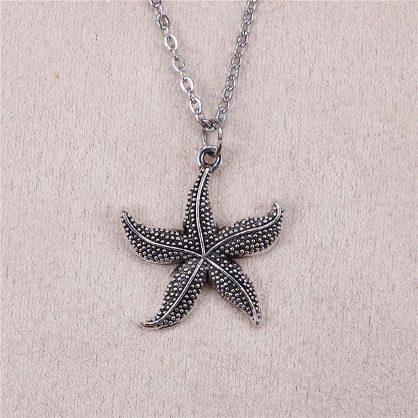 "Silver Tibetan starfish Charm 18/"" Necklace Pendant Handmade"