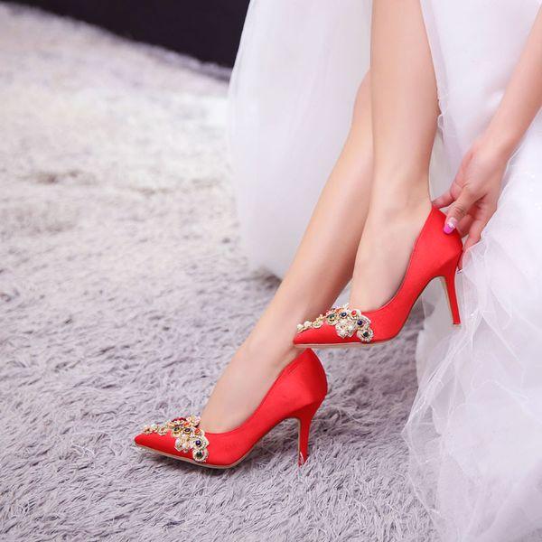 женщины невесты брак свадебные туфли 2019 платье 7 см и 9 см шпильках тонкий высокий каблук насосы острым носом красный горный хрусталь дамы женский атлас
