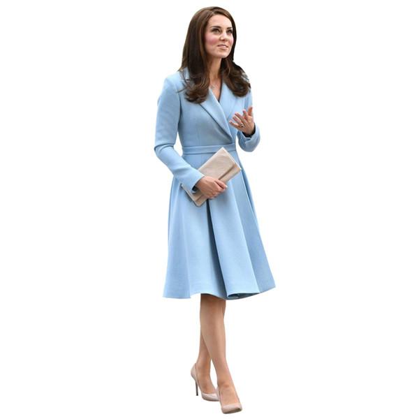 Herbst Winter Kleidung Frauen Kate Middleton Kleid blau gekerbten Kragen verdeckte Druckknopf Gürtel knielangen A Line elegantes Kleid T4190610
