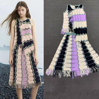 Женские трикотажные платья из двух частей 2019 новое прибытие мода асимметричная длина женщин свитер платье весна и лето женские дизайнерские платья