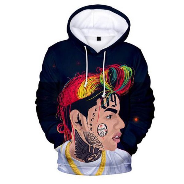 Acquista 2019 Hot American Rapper 6IX9INE Cool 3D Felpe Uomo Donna Autunno Casual Lovers Harajuku Felpe Hip Hop Felpa Ragazzo Ragazza A $20.17 Dal