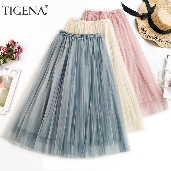 Tigena Basic Midi Long Tulle Skirt Women 2019 Summer Korean Fashion A-line High Waist Pleated Skirt Female Pink Tutu Sun Skirt Y19050502