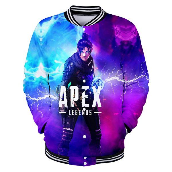 2019 3D Apex Legends Baseball Jacket Men/Women Long Sleeve Harajuku Clothes Hot Sale 3D Print Apex Legends Jacket EU Size