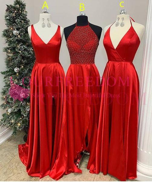 2019 Red Maxi Estilo Da Dama de Honra Vestidos De uma Linha V Neck Side Dividir Elastic Seda Como Cetim Maid Of Honor Convidado Do Casamento Vestido Formal À Noite Desgaste