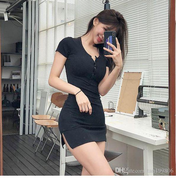 2019 Кнопка Летнее платье черный белый с коротким рукавом Мини платье Повседневный Tight Высокая Упругие Sexy платье партии