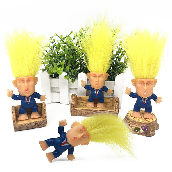 top popular 6CM Trump 2020 Action Figures Doll Long Hair Suits Clothes Troll Doll Leprechauns Electioneering President Donald Trump Funny Model A61304 2019