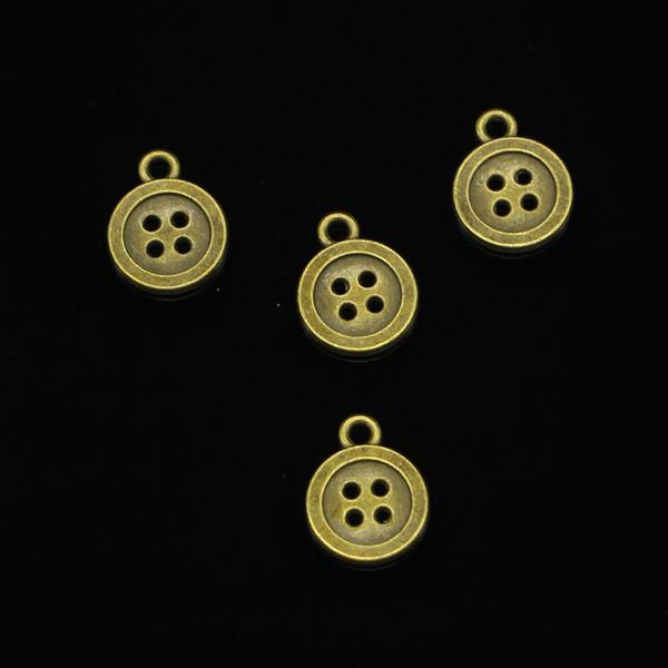 145pcs di fascini tasto doppio lato Bronzo antico placcato pendenti misura monili che fanno risultati accessori 13mm