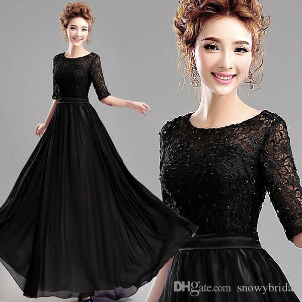 Real Black Long Modest Bridesmaid Dresses With Sleeved Lace Top Chiffon A-line Formal Country Wedding Bridesmaid Gowns Fast Shipping