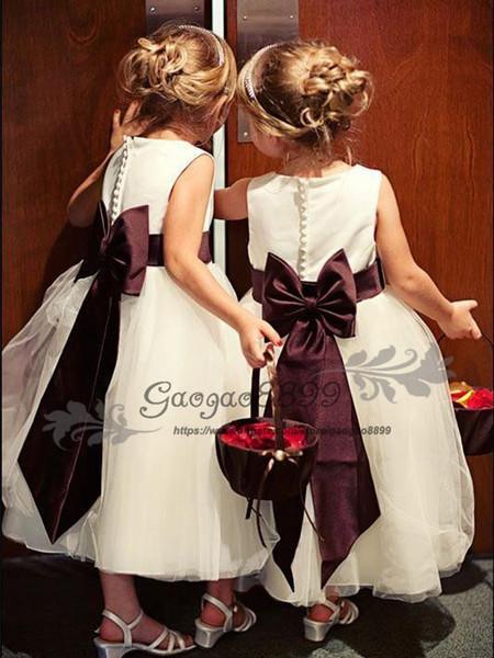 Modest cetim tule jóia decote chá comprimento a linha flor vestido de menina para o casamento lindo arco de borgonha crianças criança primeiro vestido de comunhão
