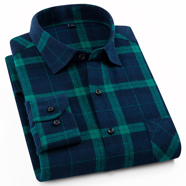 spring and autumn casual cotton flannel long sleeve shirt youth men's pure cotton frosted plaid long sleeve shirt men n5202