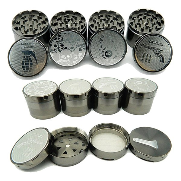 Unique Herb Grinder 52mm Diameter 4 Layers Zinc Alloy Grinders Flat-Plate Embossing Tobacco Crusher Dab Tool Smoking Accessories