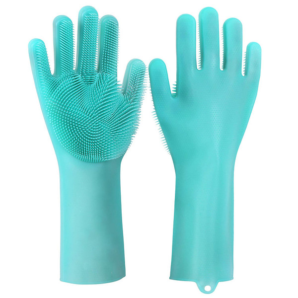 2pcs/pair Magic Washing Brush Silicone Glove Resuable Household Scrubber Anti Scald Dishwashing Gloves Kitchen Bed Bathroom Cleaning Tools